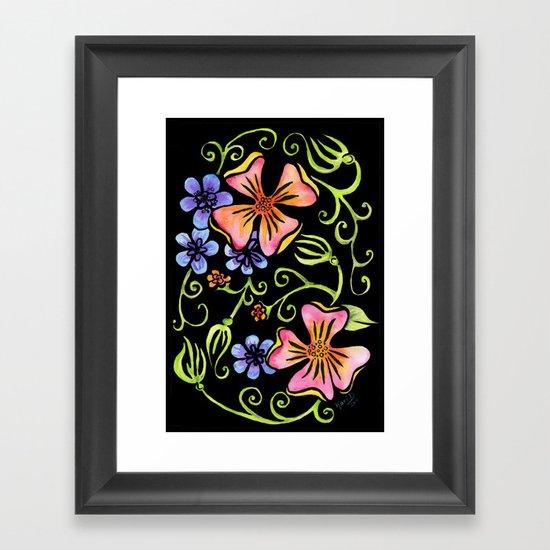 Electric Flora Framed Art Print