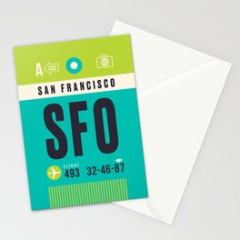 Baggage Tag A - SFO San Francisco USA Stationery Cards