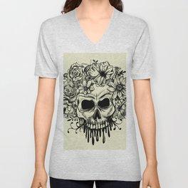 Skull & Flowers Gothic Grunge Punk Unisex V-Neck
