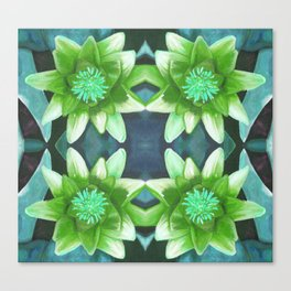Teal Green Bromeliad Pattern Canvas Print