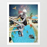 hippy Art Prints featuring Happy Hippy Hippo by Eugenia Loli