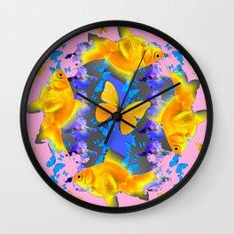 GOLDFISH & BUTTERFLIES PINK NURSERY ART Wall Clock