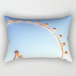 orange Ferris Wheel in the city with blue sky Rectangular Pillow
