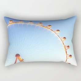 orange Ferris Wheel in the city with blue sky Rectangular Pillow