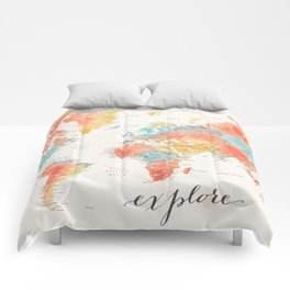 """Explore"" - Colorful watercolor world map with cities Comforters"