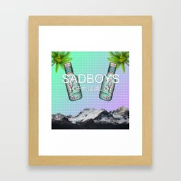 SADBOYS // YUNG LEAN AESTHETIC POSTER FT. GREEN TEA AND PALM TREES Framed Art Print