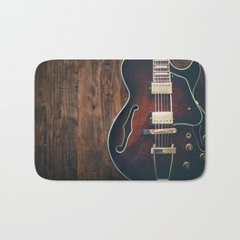 Guitar on Wood Bath Mat