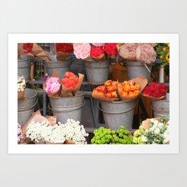 Flowers in buckets Art Print