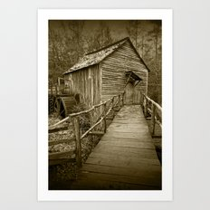 Sepia of The John Cable Gristmill in Cade's Cove Art Print