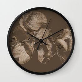 Dogwood Tree Flowers (sepia) Wall Clock