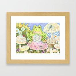 DOILIES MAKE A HOPPY HOME - Brack Whimsical Frog Framed Art Print