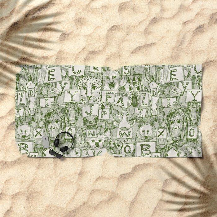 animal ABC green ivory Beach Towel