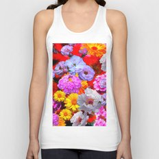 PINK-YELLOW-WHITE FLOWERS ON RED Unisex Tank Top