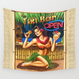 Tiki Bar is Open Wall Tapestry