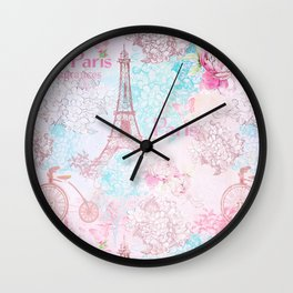 I love Paris- Vintage  Shabby Chic in pink - Eiffeltower France Flowers Floral Wall Clock