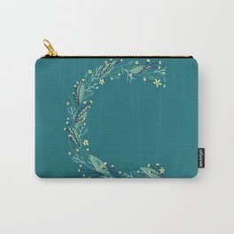 Turquoise flowers alphabet C Carry-All Pouch