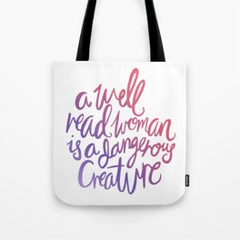 Well Read Woman - Girl Nerd Quote - Gradient Tote Bag