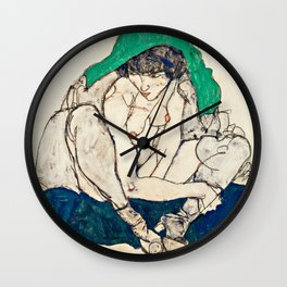 Egon Schiele - Crouching Woman With Green Headscarf Wall Clock