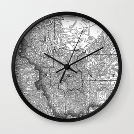 Vintage Map of Montana (1881) BW Wall Clock