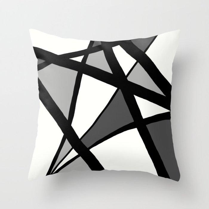 Geometric Line Abstract - Black Gray White Deko-Kissen
