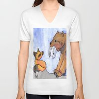 gift card V-neck T-shirts featuring Gift by Sparki Wolf