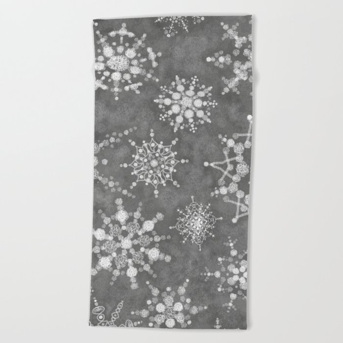 Winter Snowflakes Beach Towel