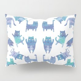 Blue Cats Pillow Sham