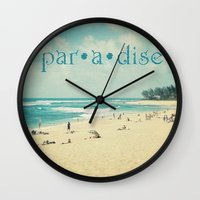 paradise Wall Clocks featuring paradise by Sylvia Cook Photography