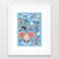 dumbo Framed Art Prints featuring Dumbo by Carly Watts