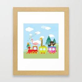 Animals Train , Nursery decor Framed Art Print