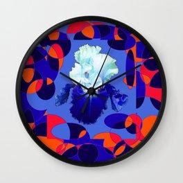 Modern Blue White Iris Orange Saffron Black Design Wall Clock