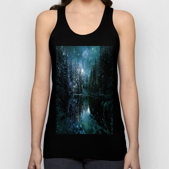 Winter Forest Teal Unisex Tank Top