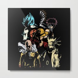 Anime Hero's 3 Metal Print