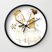 hippie Wall Clocks featuring Hippie Girls by Judith Loske