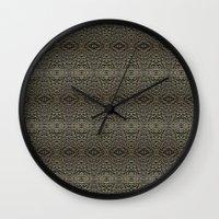 metallic Wall Clocks featuring Metallic by Sarah McMahon