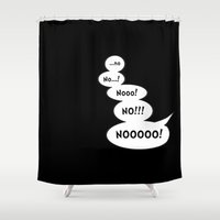 comic book Shower Curtains featuring Comic book NO by Emma Harckham