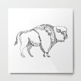 American Buffalo Doodle Art Metal Print
