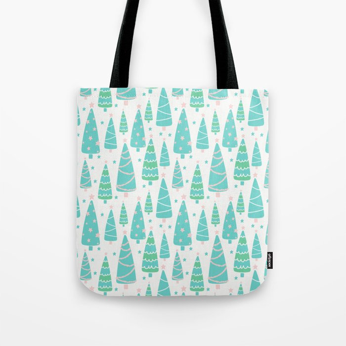 Pastel Christmas Tree Forest Tote Bag