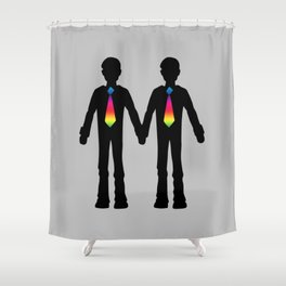 Gay Couple Holding Hands Shower Curtain