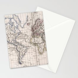 Vintage Map of The World (1856) Stationery Cards