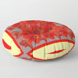 YELLOW COLOR RED AMARYLLIS FLOWER GARDEN  FLOWERS Floor Pillow