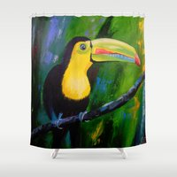 toucan Shower Curtains featuring Toucan by OLHADARCHUK