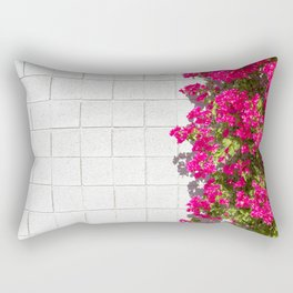 Bougainvilleas and White Brick Wall in Palm Springs, California Rectangular Pillow