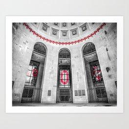 A Scarlet Entrance - Ohio State Stadium Rotunda in Selective Color Art Print