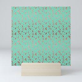Ombre Rose Gold Metallic Foil Animal Spots on Aqua Blue Mini Art Print