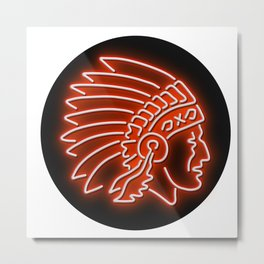 Native American Indian Chief Glowing Neon Sign Circle Metal Print