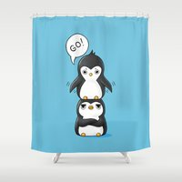 penguins Shower Curtains featuring Penguins by Freeminds