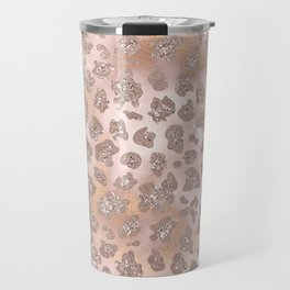 Rosegold Blush Leopard Glitter Travel Mug
