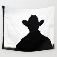 cowboy Wall Tapestries featuring Cowboy by 100 Watt Photography