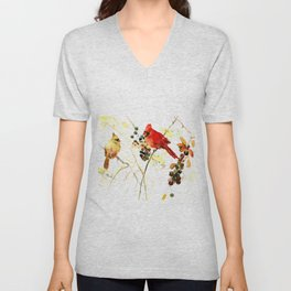 Cardinal Birds and Berries Unisex V-Neck